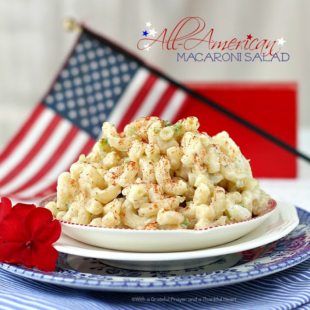 Picnicking, Cooking-out & CELEBRATING! Collection of favorite July 4th Foods including macaroni & potato salad, baked beans, deviled eggs & apple pie.