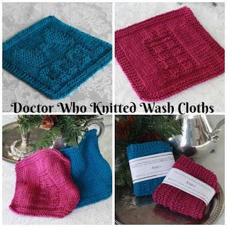 Tardis knitted washcloths pattern