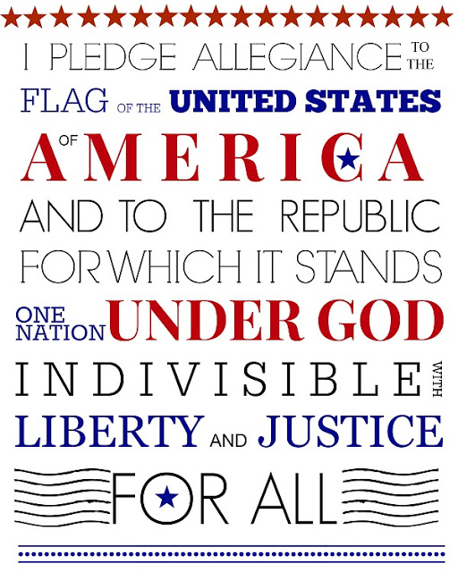 Printable Pledge of Allegiance for Patriotic 4th of July Independence Day