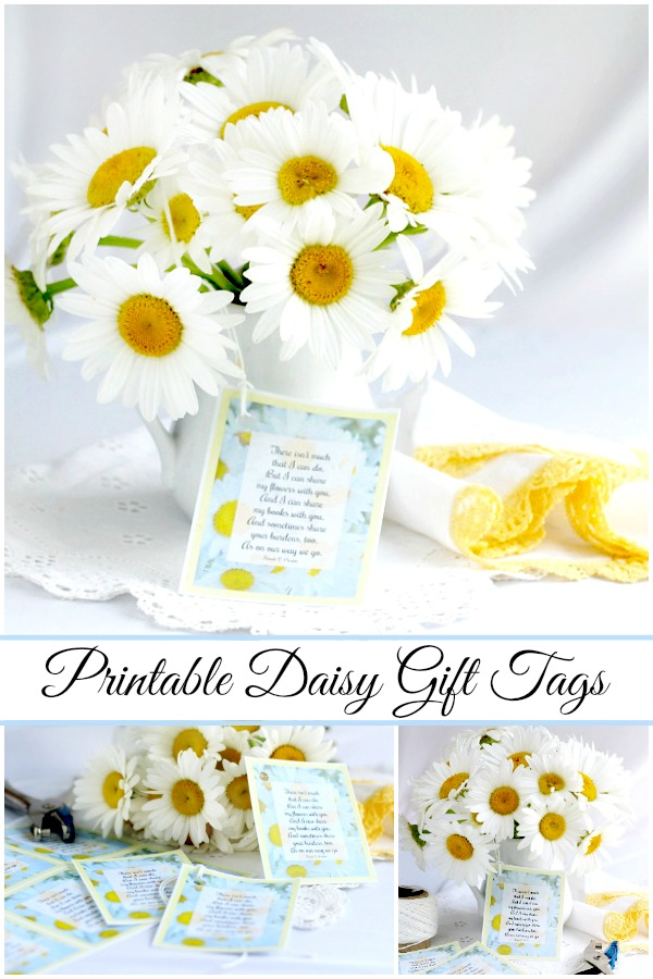I can share my daisies with you. Free printable gift tags with poem to attach to a bouquet of flowers or a food gift for a lovely presentation.