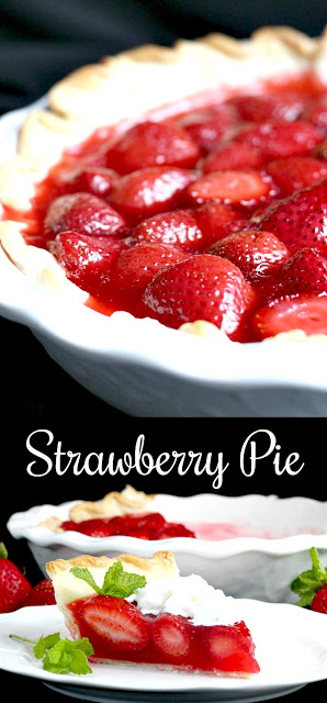 Strawberry Pie topped with whipped cream. Made this pie with two preschoolers for a fun and tasty baking-with-kids dessert.