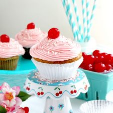 Vanilla Cupcakes with Cherry Buttercream Frosting