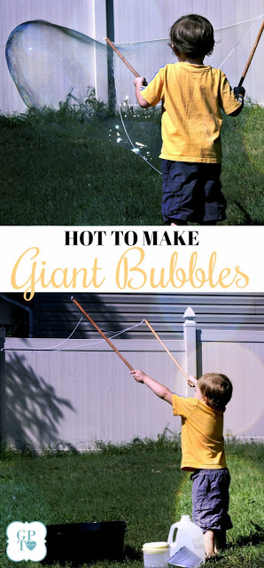 How-to DIY instructions for making a fun summer activity for grandchildren and kids of all ages. GIANT bubbles too big to believe