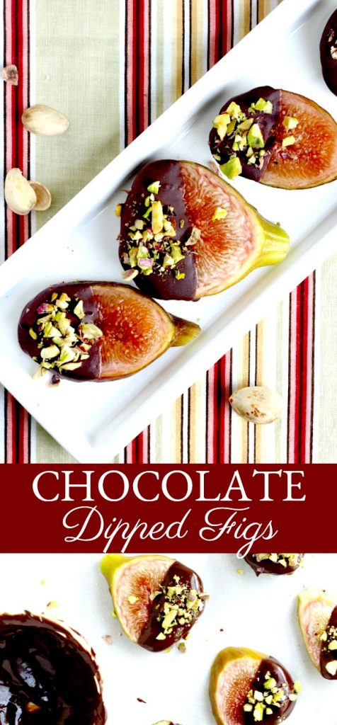 Easy and elegant sweet, after dinner dessert of fresh figs from backyard tree dipped in chocolate and topped with chopped pistachios.