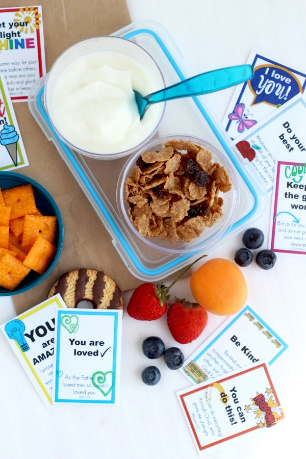 FREE printable lunch box notes and cards to encourage kids in school with cute images and inspirational bible verses.
