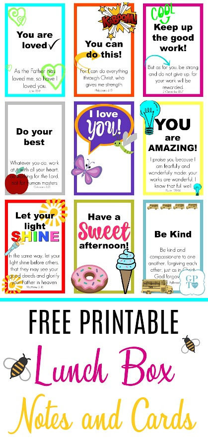 graphic relating to Printable Books of the Bible Cards titled Totally free Printable Lunch Box Notes Playing cards Thankful Prayer