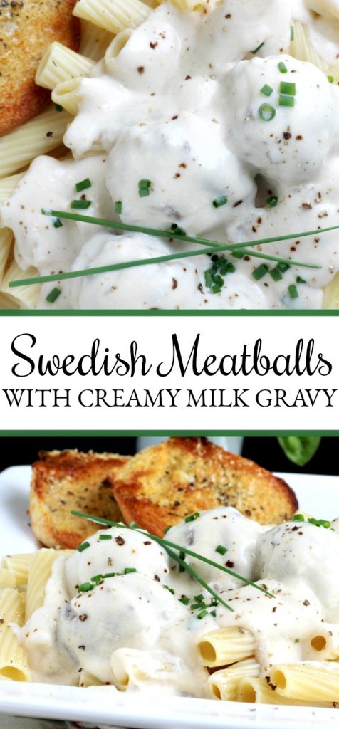 Easy recipe for Swedish meatballs in a creamy white sauce served over noodles or pasta for a lovely dinner entree.