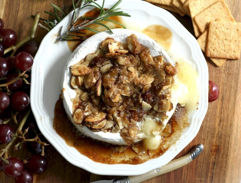 Creamy, buttery Tipsy Brie is the appetizer of choice when friends get together. Warm, melty with a topping of brown sugar, sliced almonds & bourbon.