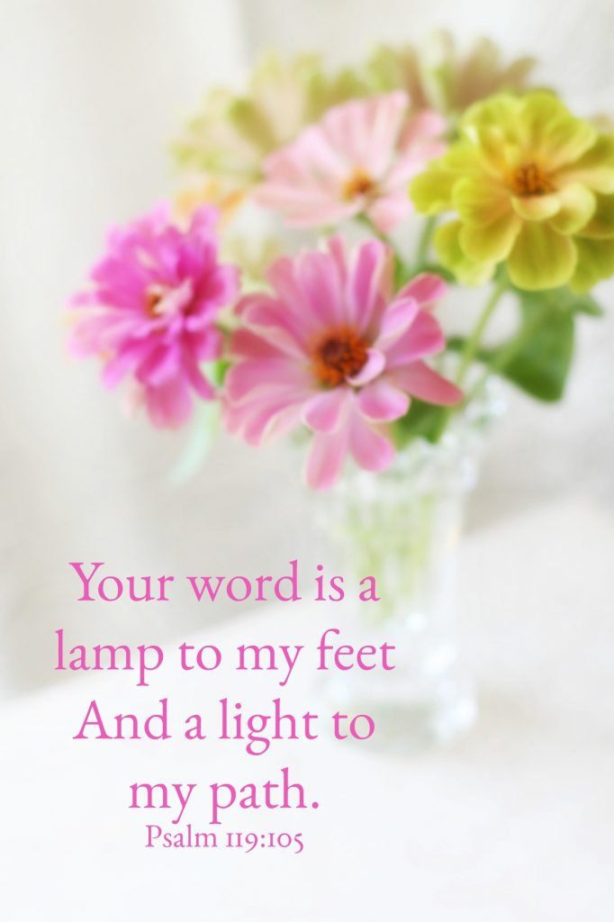 Your word is a lamp to my feet And a light to my path.Psalm 119:105