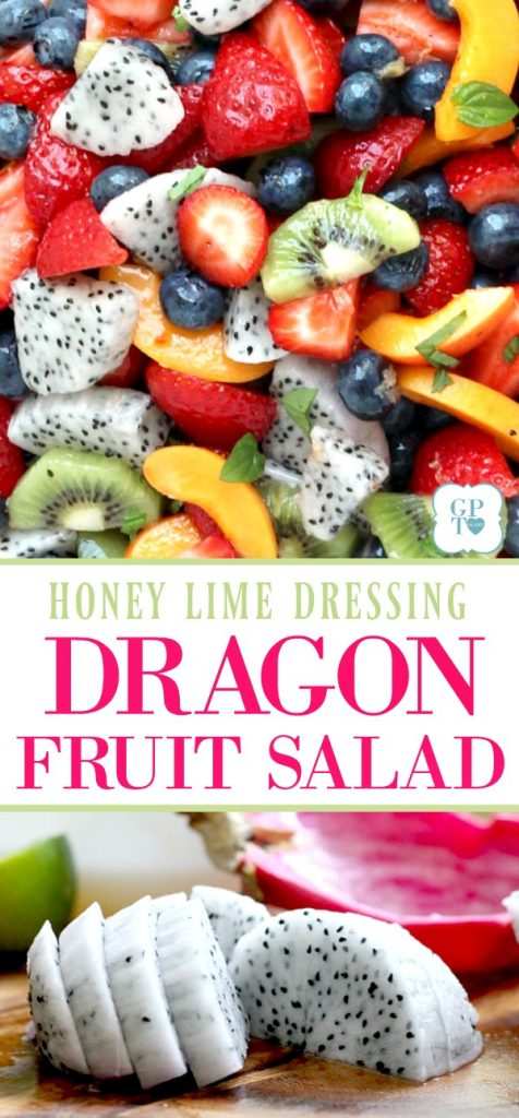 Gorgeous pink dragon fruit brightens this fresh fruit salad with a honey lime ginger dressing. Colorful, delicious and nutritious.