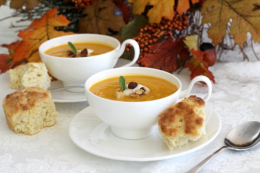 Easy recipe for Butternut squash soup. The warm flavors of autumn are echoed in this golden-orange, thick and slightly sweet bowl of soup.