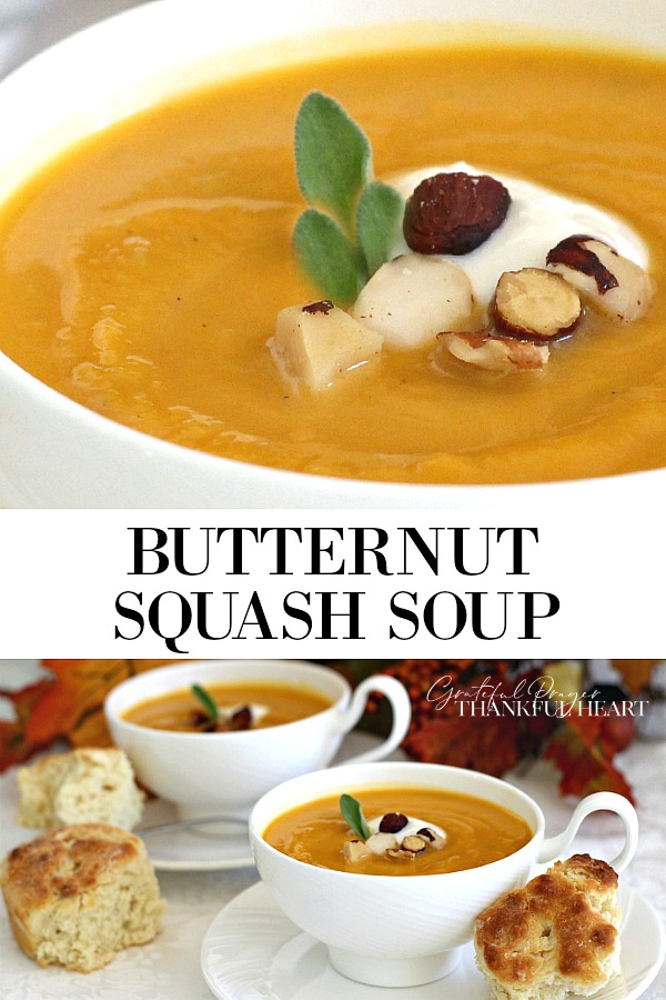 Butternut squash soup is velvety smooth with a mild and delicious flavor. Easy to prepare by simmering the pulp of the squash with celery and onions in broth. A quick spin in a blender and it is ready. Serve with or without cream.