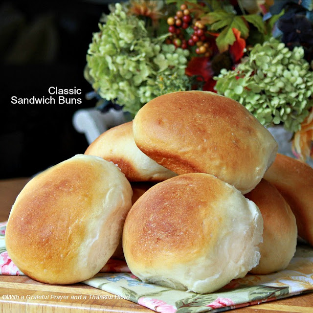 Easy recipe for classic, homemade yeast sandwich buns using a bread machine to make the dough.