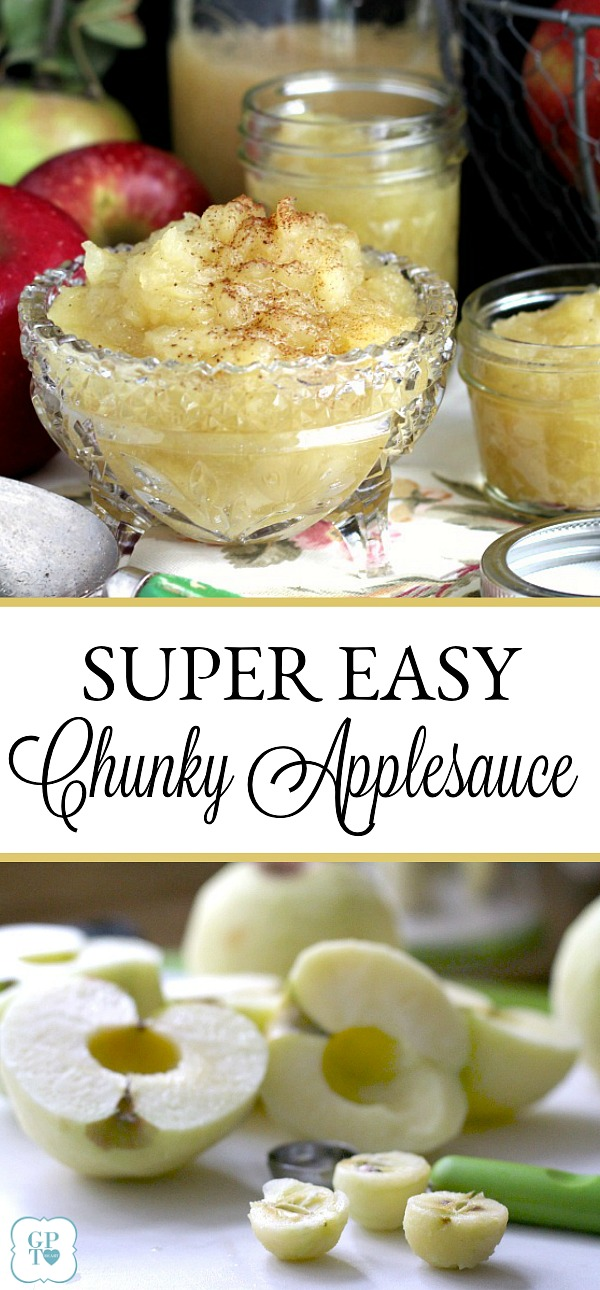 Super easy, homemade chunky applesauce lightly sweetened and with a hint of cinnamon and cloves. Lovely autumn & Thanksgiving side dish using fresh apples.