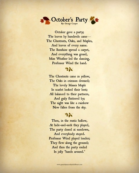 Download free printable, lovely autumn poem, October's Party by George Cooper.