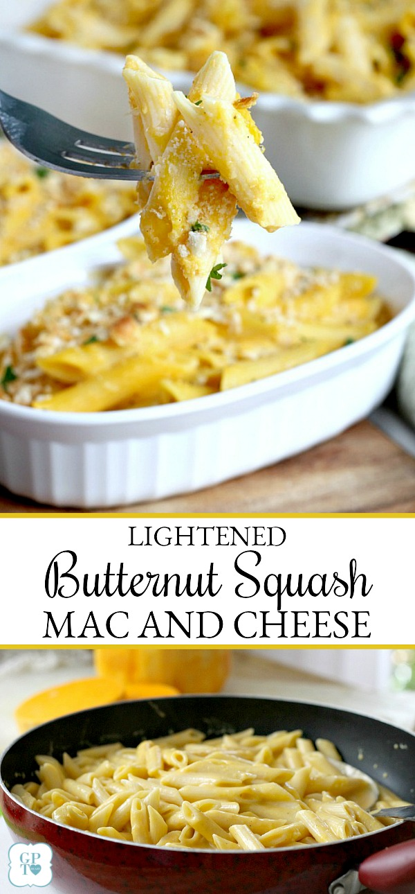 Butternut squash is a surprise ingredient in delicious Lightened Butternut Squash Mac and Cheese. Great flavor and nutrition as well as reduced calories.