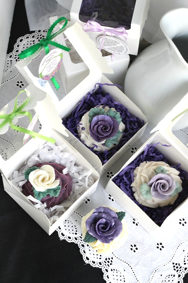 Hand crafted, Nancy's Garden Cupcake Soap looks so real you might be tempted to take a bite. Sweet gift and pretty displayed in bathroom. Beautiful aroma and gift box.