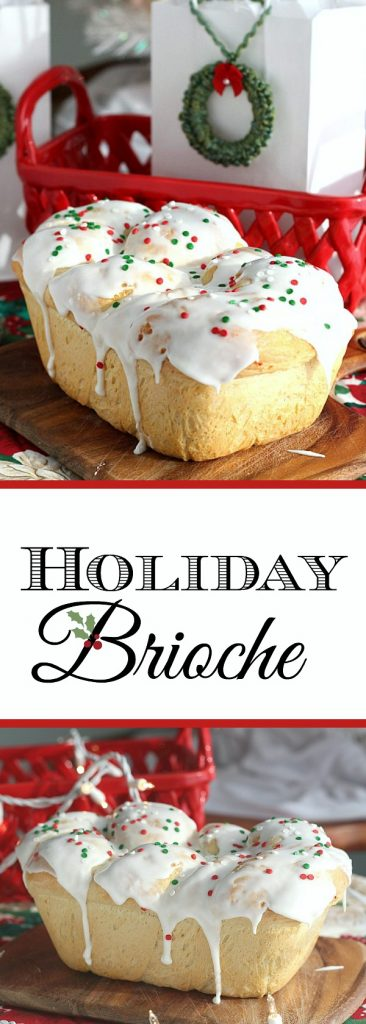Bake a festive loaf of rich holiday brioche from easy recipe using a bread machine. Frosted with a white glaze and colorful sprinkles. Great food gift idea.