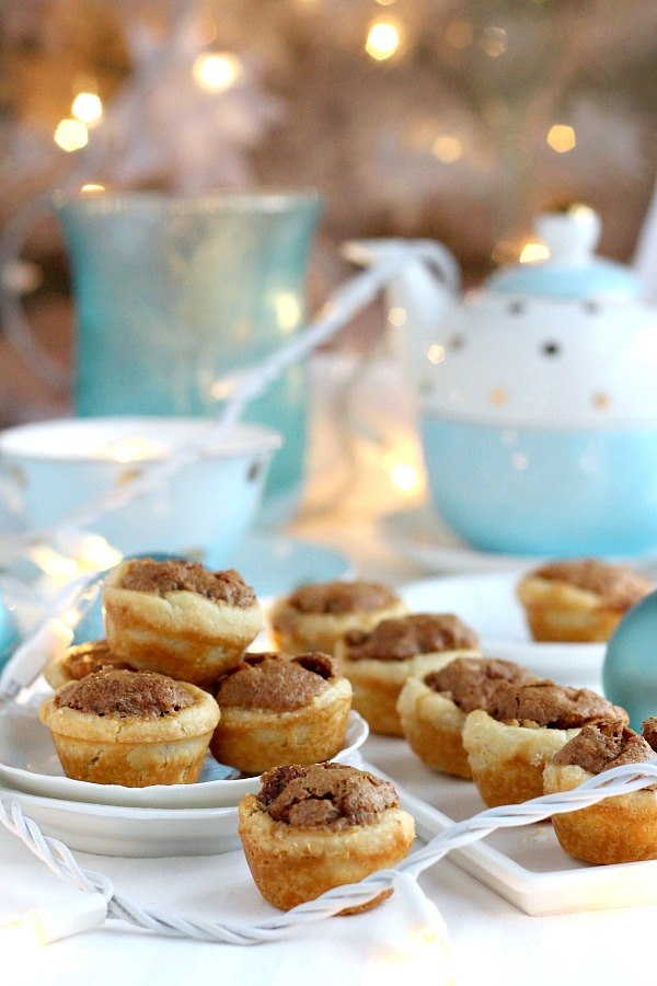 These sweet little Pecan Tassies are like having a bite-sized pecan pie. All of the sweet goodness fills a cream cheese, flaky pastry cup. These delicious tartlets are sometimes called Nut Lassies.