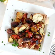 One Pan Roasted German Brats, Potatoes and Peppers