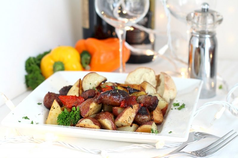 Want a hearty meat-and-potatoes meal? Roasted German brats, potatoes and peppers is that kind of meal. Super easy to make too. Just toss the vegetables with olive oil and add the German brats. Season as desired and roast until everything is browned and crispy. It is a delicious, whole meal in one pan.