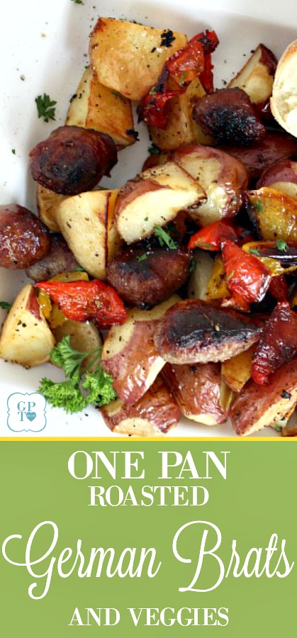 Want a hearty meat-and-potatoes meal? Roasted German brats, potatoes and peppers is that kind of meal. Super easy one-pan dinner. Just toss the vegetables with olive oil and add the German brats. Season as desired and roast until everything is browned and crispy. It is a delicious, whole meal in one pan.