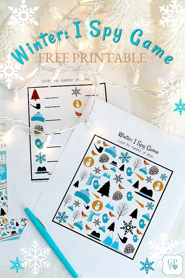 Winter I spy FREE printable is a great activity for kids stuck inside on those cold wintry days and they are feeling bored. Print it out, grab a pen and cozy up with hot chocolate. More inside activity suggestions as well.