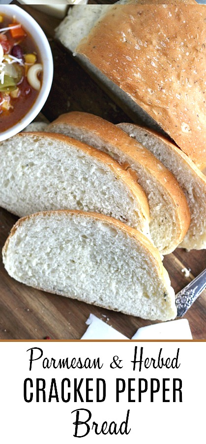 Parmesan, Cracked Pepper and Herbed Bread is full of flavor, slices beautifully and great for sandwiches or buttered and served with soup or salad. Easy recipe dough is made in a bread maker and shaped as desired. Allow to rise, bake and enjoy!