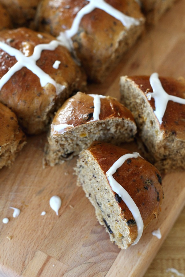 Hot Cross Buns are an Easter tradition and a lovely, sweet breakfast treat with the warm flavor of cinnamon. Dough is made easily in a bread machine then shaped and baked in a dish. Frosting is piped on top in the shape of the cross. Perfect addition for brunch with hard-boiled, colored eggs.