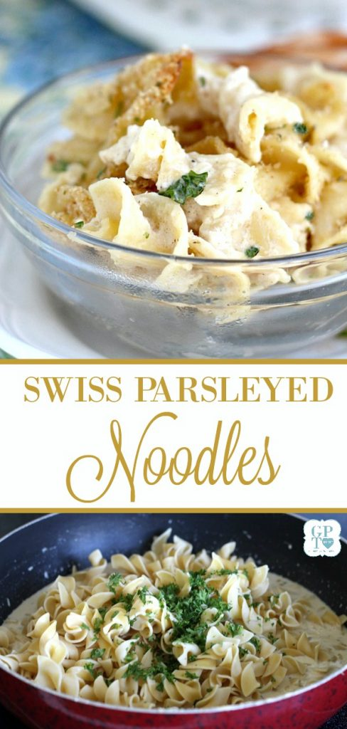 Try something different as a side for a chicken, pork or beef entree. Swiss Parsleyed Noodles is an easy side dish made extra special and flavorful with Swiss and Parmesan cheese and topped with crunchy buttered breadcrumbs.