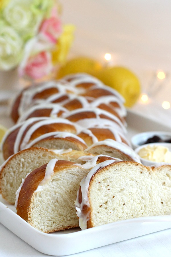 This easy recipe for a pretty loaf of braided and glazed Lemon Anise Bread is soft and full of flavor. Make the dough using a bread machine or traditionally. After rising, shape, rise again and bake. Cool, then drizzle on a light lemony glaze. Lovely with tea, Mother's Day or for any special occasion.