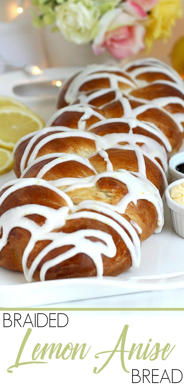 Easy recipe for a pretty loaf of braided and glazed Lemon Anise Bread. Make the dough using a bread machine or traditionally. After rising, shape, rise again and bake. Cool then drizzle on a light lemony glaze. Lovely with tea, Mother's Day or for any special occasion.