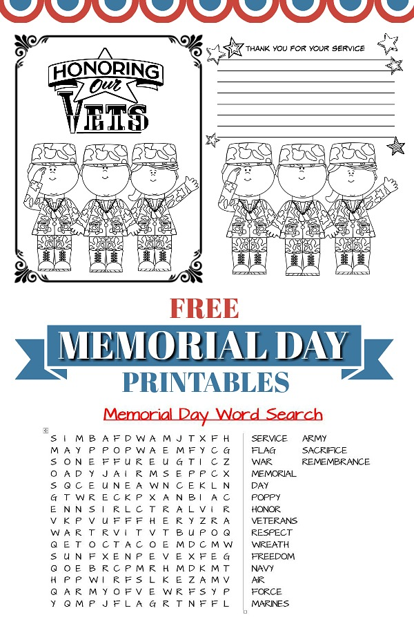 FREE Patriotic Memorial Day printables to help kids remember those who have served in the military. Perfect to use during your holiday cookout or picnic celebration to honor Veterans.