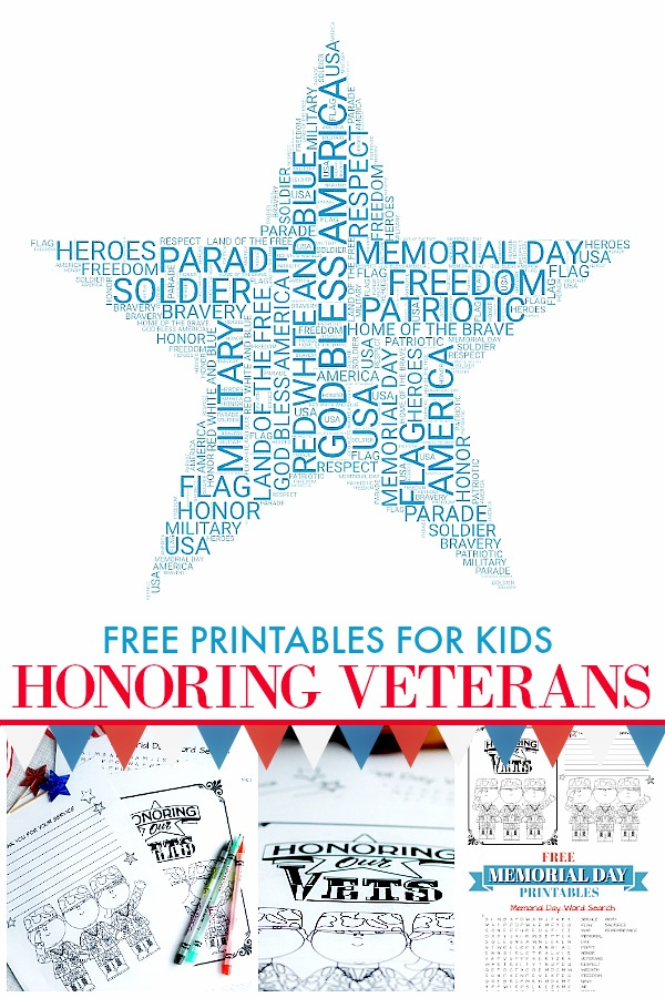 Fun patriotic Memorial Day printables for kids to teach them to remember and honor Veterans this holiday. Coloring page, word search and letter writing page are all Free.