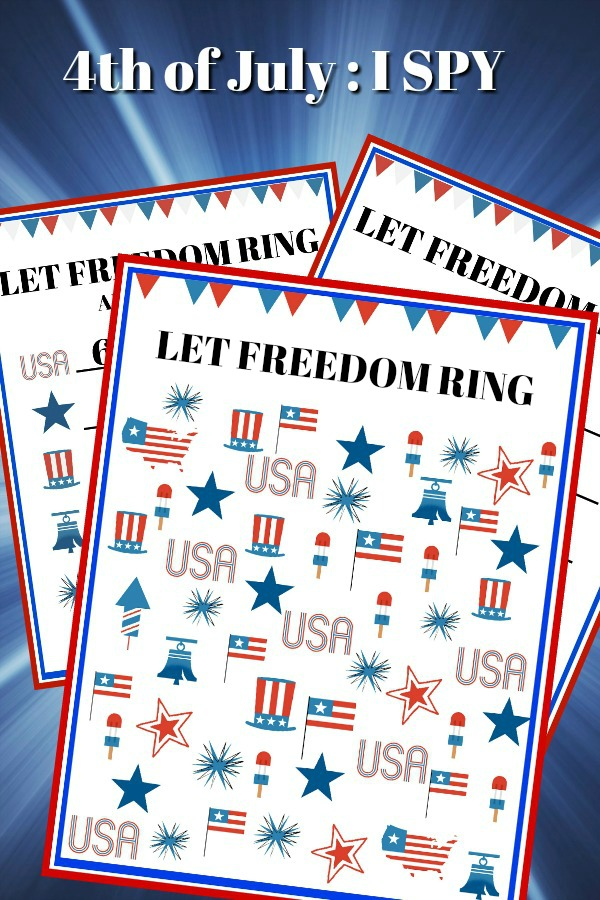 Free and fun printables for kids. Print out the Patriotic, I Spy 4th of July to use during your holiday celebration while waiting for the evening fireworks display.