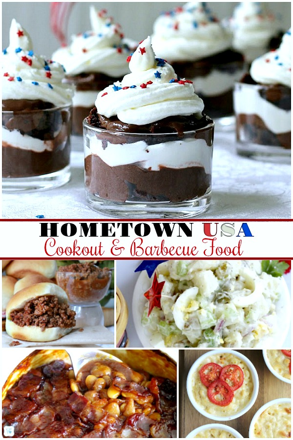 Hometown USA cooking and barbecue foods perfect for 4th of July. Potato salad, baked beans, sloppy Joes, Mac & cheese and Brownies!