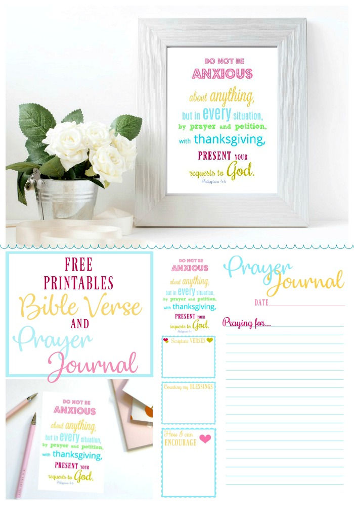 Cheerful, Philippians 4:6 Do not be anxious bible verse, Prayer Journal and bookmark Printables for your diary with prompts for Scripture verses, counting blessings, ways to encourage and prayers. Keep in a notebook or bible.