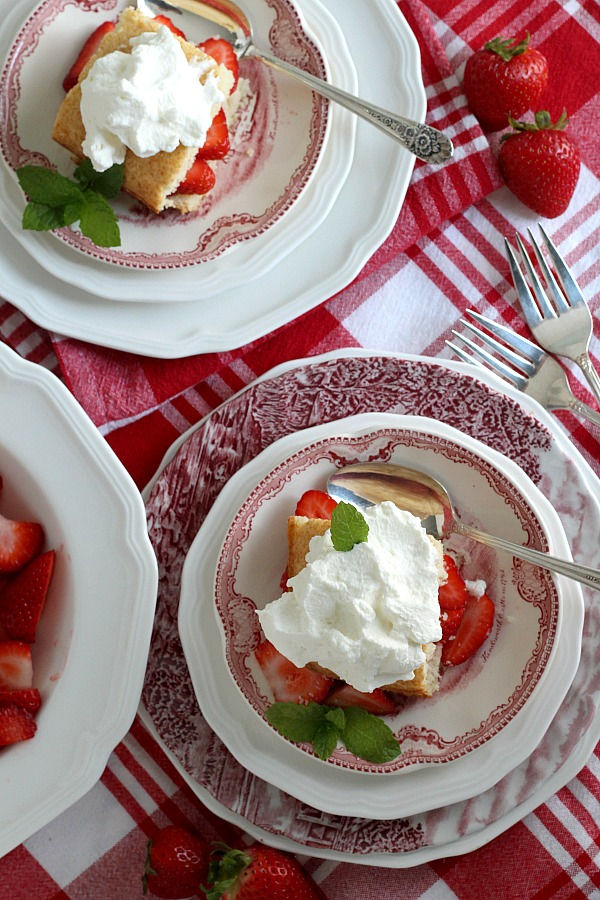 Some folks prefer a biscuit-like shortcake while others like a cake texture for their strawberry treat. I would say this Strawberry Shortcake recipe is somewhere in the middle. Not too dry and crumbly and not a light fluffy cake.