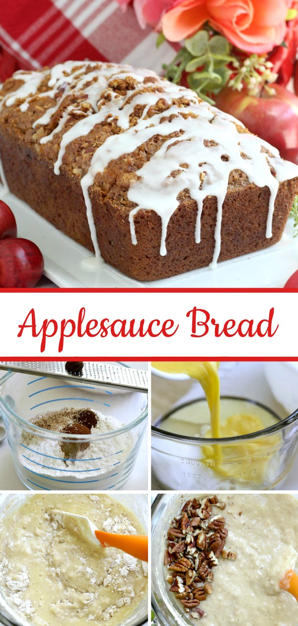 Easy recipe for frosted applesauce bread full of warm flavors of cinnamon, allspice & nutmeg. You don't even need a mixer to make this delicious quick bread.