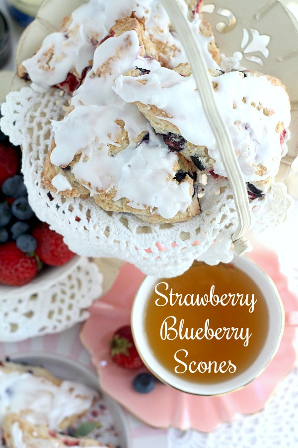 Brighten breakfast or tea time with this easy recipe for frosted Strawberry blueberry scones. Lovely for Mother's Day or to share with friends & coworkers.