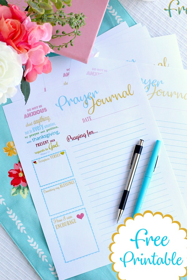 Use this cheerful Prayer Journal Printable as your diary with prompts for Scripture verses, counting blessings, ways to encourage and prayers. Keep in a notebook or bible.