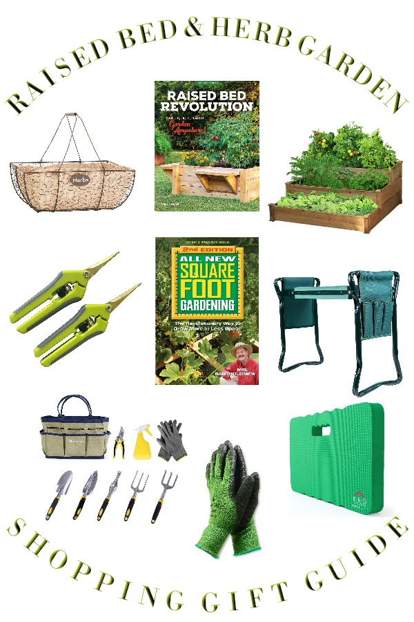 Raised Bed Gardening Tips for enjoyable and productive kitchen herbs, flower and vegetable growing in a small space with gift guide for the herb gardener.