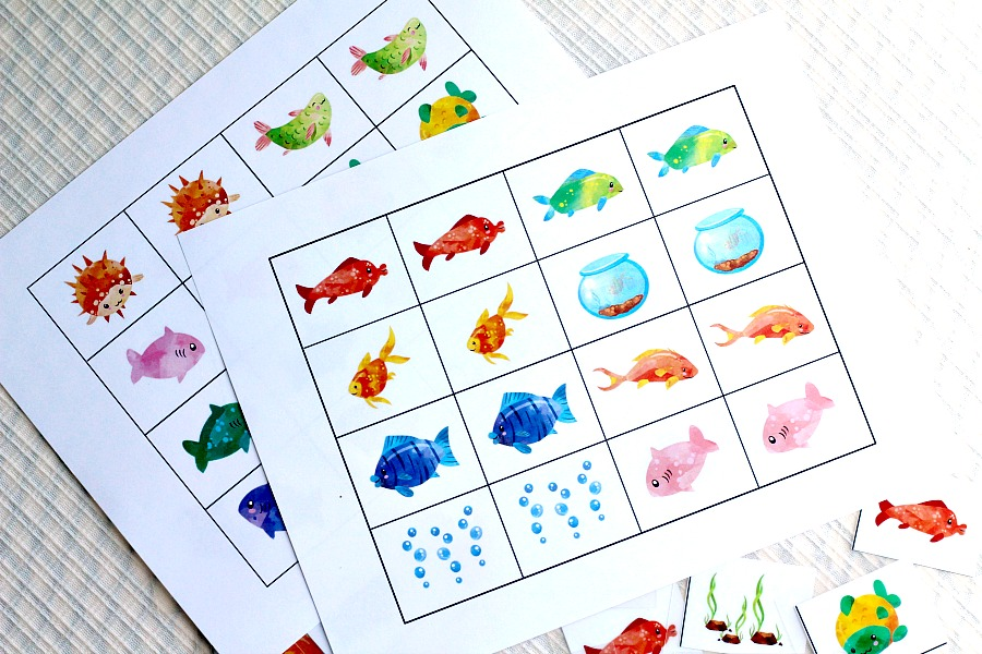 Cute and colorful, Something Fishy matching memory game, provides hours of fun for kids while building recall, focusing and problem solving skills.