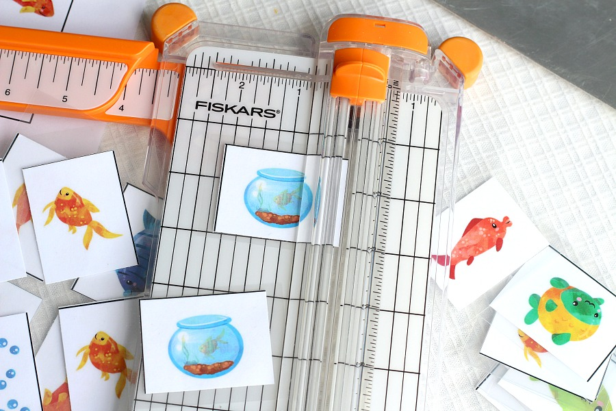 Cute and colorful, Something Fishy matching memory game, provides hours of fun for kids. Easy to laminate at home for durability.