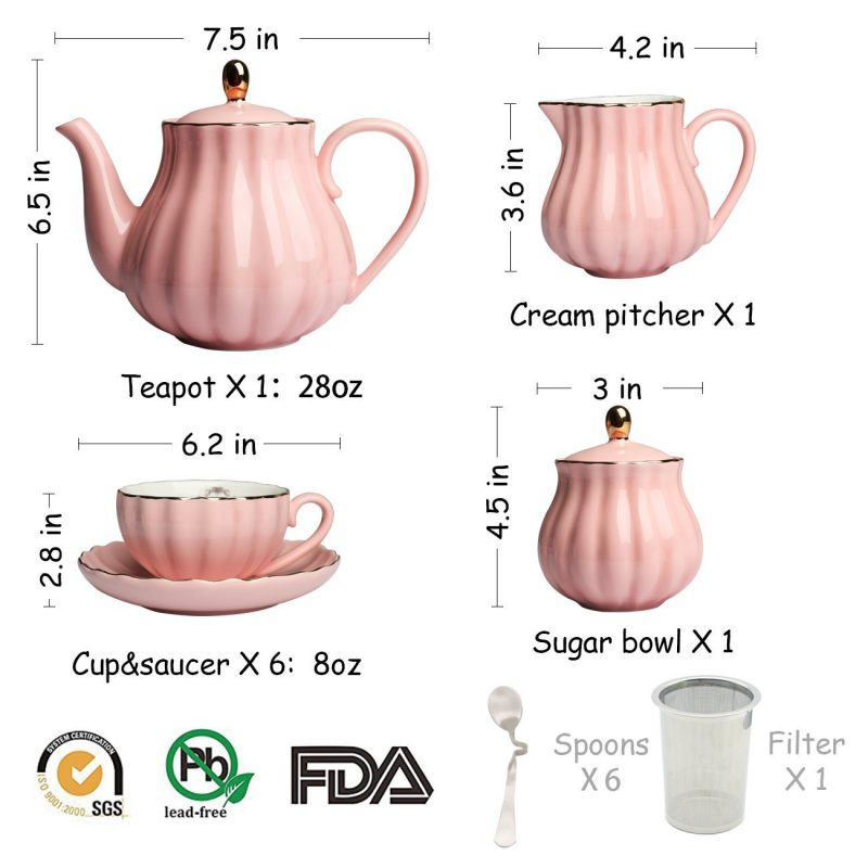 Pretty pink China Tea cup, saucer, pot, with sugar and creamer set.