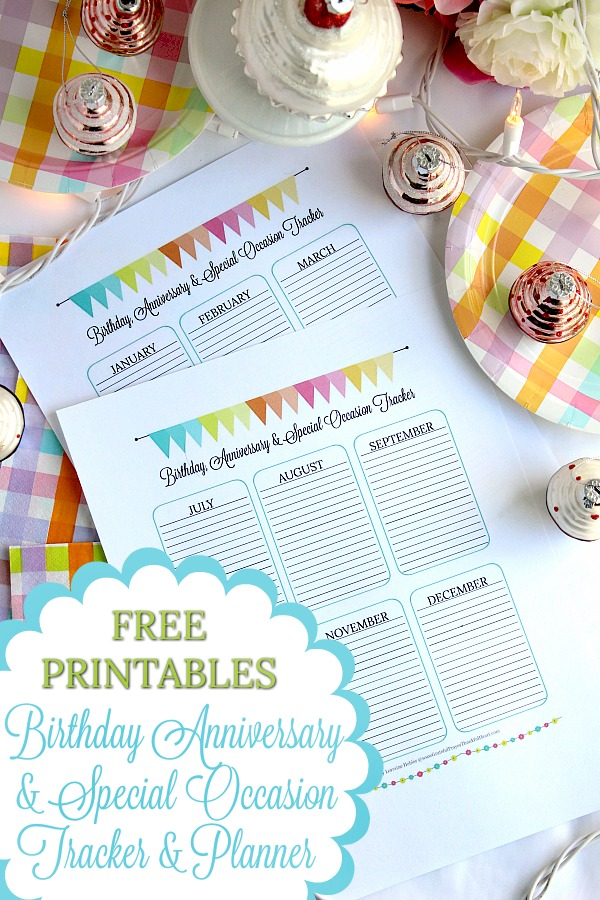 Record special days of sweet family and friends on pretty Birthday, Anniversary & Special Occasion Tracker and Planner FREE printables.