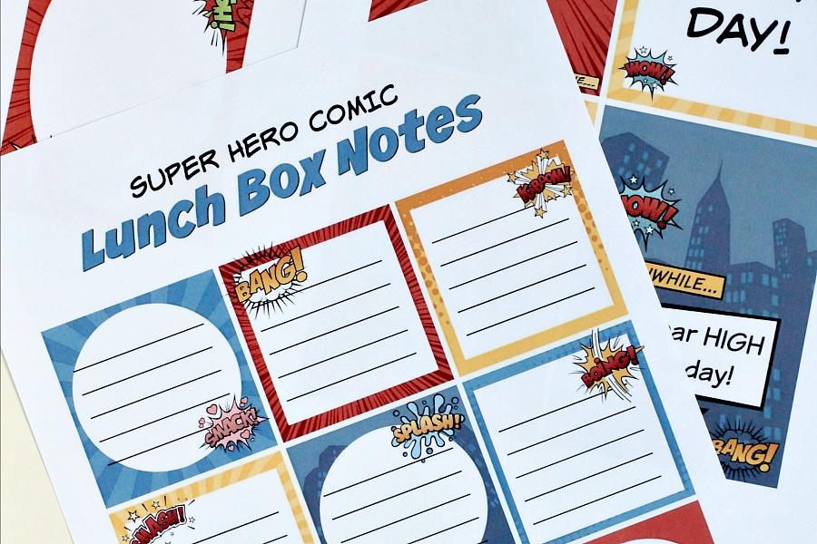 Comic Hero Lunch Box Notes | Grateful Prayer | Thankful Heart