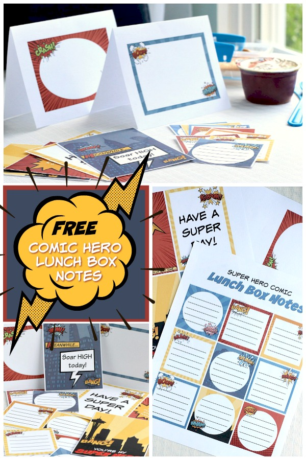 While thinking of school supplies, new clothes and shoes, take a moment to download and print these FREE comic hero lunch box notes and cards for your super child. Let them know you are thinking of them while sending words of encouragement.