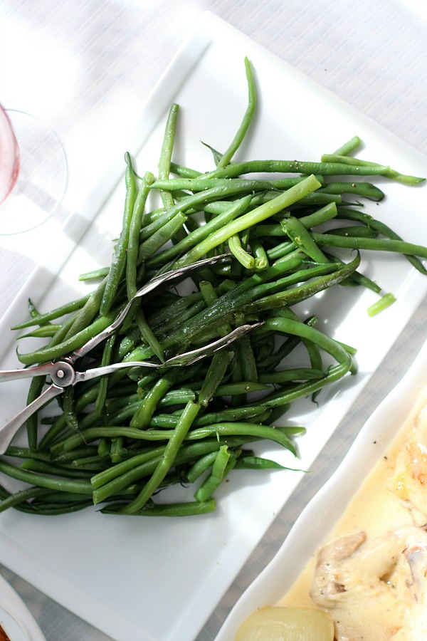Haricot Verts or French String Beans is a lovely and healthy side to chicken, fish, beef or pork. Cooked just until bright green and tender.