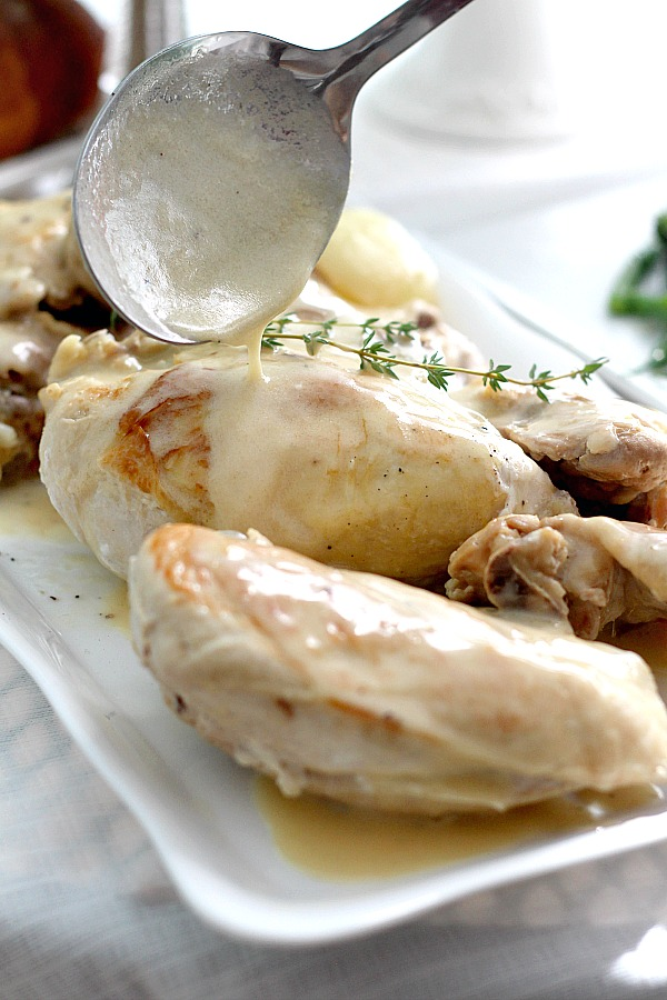 Poulet a la Creme or chicken in cream sauce looks & sounds complicated. It's really an easy and delicious French dish special enough for entertaining yet simple for weeknight dinner.